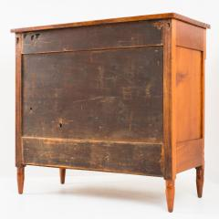 American Sheraton cherry and curly maple four drawer bow front chest - 1713638