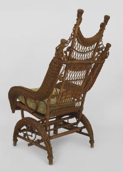 American Victorian Natural Wicker Ornate High Back Platform Rocking Chair    620422