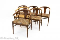 American of Martinsville Mid Century Walnut Barrel Dining Chairs Set of 6 - 1869911