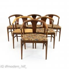 American of Martinsville Mid Century Walnut Barrel Dining Chairs Set of 6 - 1869912