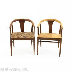 American of Martinsville Mid Century Walnut Barrel Dining Chairs Set of 6 - 1869913