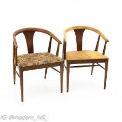 American of Martinsville Mid Century Walnut Barrel Dining Chairs Set of 6 - 1869914