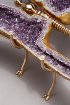 Amethyst and 22K Gold Leaf Butterfly Coffee Table - 1974567