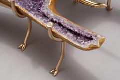 Amethyst and 22K Gold Leaf Butterfly Coffee Table - 1974570
