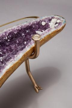 Amethyst and 22K Gold Leaf Butterfly Coffee Table - 1974572