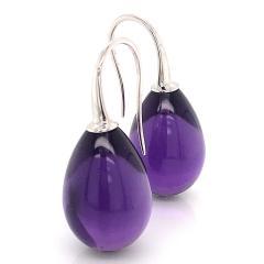 Amethyst with White Gold 18 Karat Drop Earrings - 1224512
