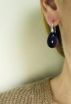 Amethyst with White Gold 18 Karat Drop Earrings - 1224513
