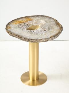 Amy Zook Moonscape II White Gray and Rust Agate Table on Custom Satin Brass Base - 1479272
