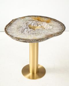 Amy Zook Moonscape II White Gray and Rust Agate Table on Custom Satin Brass Base - 1479276