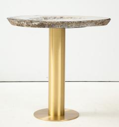 Amy Zook Moonscape II White Gray and Rust Agate Table on Custom Satin Brass Base - 1479277