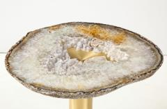 Amy Zook Moonscape II White Gray and Rust Agate Table on Custom Satin Brass Base - 1479278