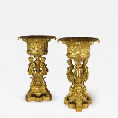 An Elaborate Pair of Figural Gilt Bronze Tazzas Supported by Three Cherubs - 2036215