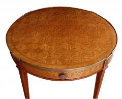 An Elegant French Louis XVI Style Tiger Mahogany Kingwood Bouillotte Table - 95340