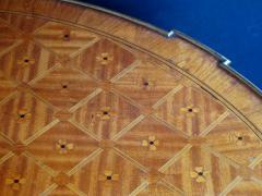 An Elegant French Louis XVI Style Tiger Mahogany Kingwood Bouillotte Table - 95341