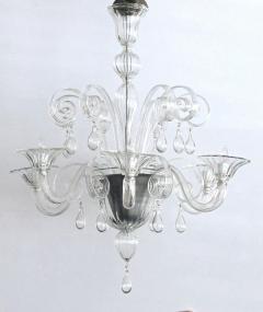 An Elegant Murano 1950s 6 light Clear Glass Chandelier - 1433487