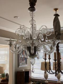 An Elegant Murano 1950s 6 light Clear Glass Chandelier - 1433494