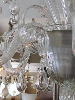 An Elegant Murano 1950s 6 light Clear Glass Chandelier - 1433495