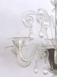 An Elegant Murano 1950s 6 light Clear Glass Chandelier - 1433498