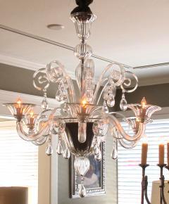 An Elegant Murano 1950s 6 light Clear Glass Chandelier - 1433499