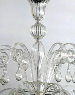 An Elegant Murano 1950s 6 light Clear Glass Chandelier - 1433500