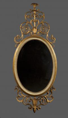 An Elegant Pair Of Giltwood And White Painted Neoclassical Oval Mirrors - 1313242