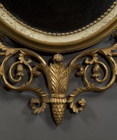 An Elegant Pair Of Giltwood And White Painted Neoclassical Oval Mirrors - 1313243