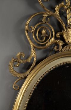 An Elegant Pair Of Giltwood And White Painted Neoclassical Oval Mirrors - 1313244