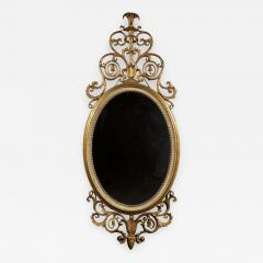 An Elegant Pair Of Giltwood And White Painted Neoclassical Oval Mirrors - 1319551