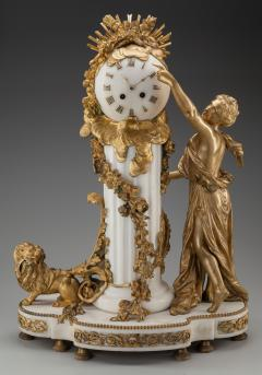 An Exquisite Louis XVI style Gilt Bronze and Marble Figural Mantel Clock - 2034441