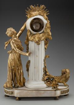An Exquisite Louis XVI style Gilt Bronze and Marble Figural Mantel Clock - 2034442
