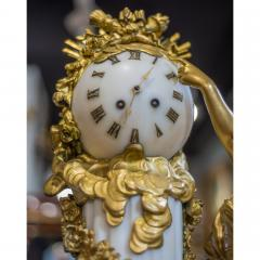 An Exquisite Louis XVI style Gilt Bronze and Marble Figural Mantel Clock - 2034443