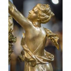 An Exquisite Louis XVI style Gilt Bronze and Marble Figural Mantel Clock - 2034446