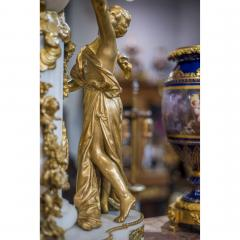 An Exquisite Louis XVI style Gilt Bronze and Marble Figural Mantel Clock - 2034447