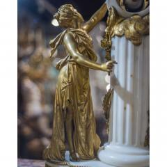 An Exquisite Louis XVI style Gilt Bronze and Marble Figural Mantel Clock - 2034448