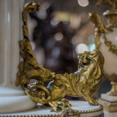 An Exquisite Louis XVI style Gilt Bronze and Marble Figural Mantel Clock - 2034449