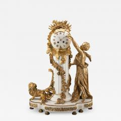 An Exquisite Louis XVI style Gilt Bronze and Marble Figural Mantel Clock - 2036220