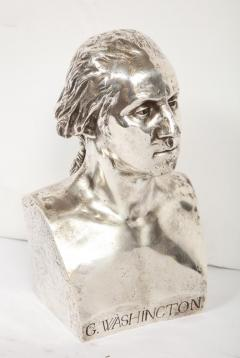 An Extremley Rare Silvered Metal Bust of George Washington by F Barbedienne - 1036090