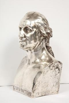 An Extremley Rare Silvered Metal Bust of George Washington by F Barbedienne - 1036092