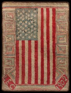 An Important Early American Flag Documented Hooked Rug - 362565