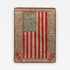 An Important Early American Flag Documented Hooked Rug - 363134