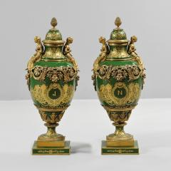 An Important Pair of S vres style Porcelain Urns and Cover - 1435604