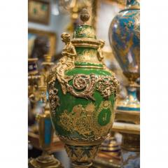 An Important Pair of S vres style Porcelain Urns and Cover - 1435607