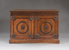 An Oak Two Door Folio Cabinet With Carved Kentian Detailing - 1200484