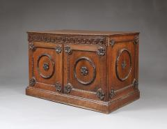 An Oak Two Door Folio Cabinet With Carved Kentian Detailing - 1200485