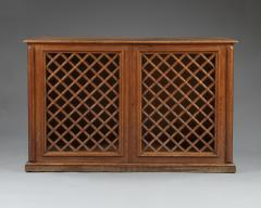An Oak Two Door Library Cabinet With Unusual Original Lattice Wooden Grills - 668989