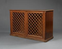 An Oak Two Door Library Cabinet With Unusual Original Lattice Wooden Grills - 668990