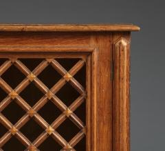An Oak Two Door Library Cabinet With Unusual Original Lattice Wooden Grills - 668991