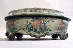 An Oval Floral Decorated Blue Lacquer Box with Female Figures on the Center Top - 268852