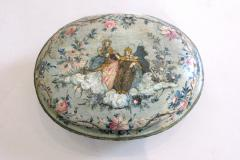 An Oval Floral Decorated Blue Lacquer Box with Female Figures on the Center Top - 268854