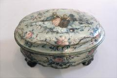 An Oval Floral Decorated Blue Lacquer Box with Female Figures on the Center Top - 268855